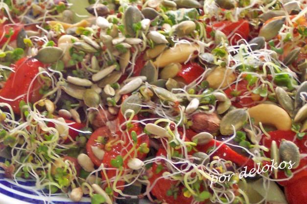 Ensalada de frutos secos con germinados
