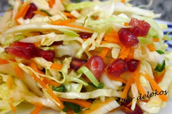 Ensalada de repollo, zanahoria ygranada, por delokos