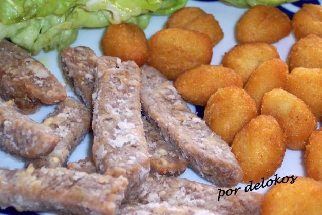 Seitán marinado con ñoquis fritos