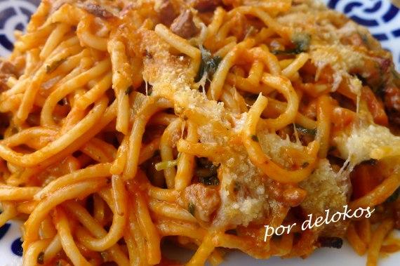 Spaghetti al horno a mi manera, por delokos