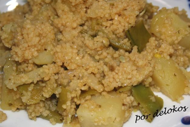 Guiso de patatas, tirabeques y cuscús