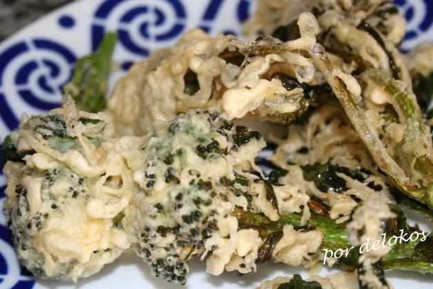 Brotes de brécol en tempura