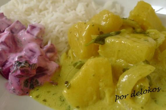 Curry de piña con raita de remolacha, por delokos