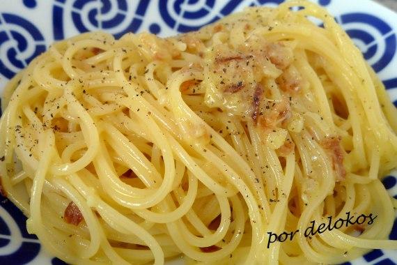 Spaghetti alla carbonara auténtica versión vegetariana, por delokos