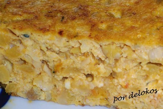 Tortilla de garbanzos y tofu rosso, por delokos