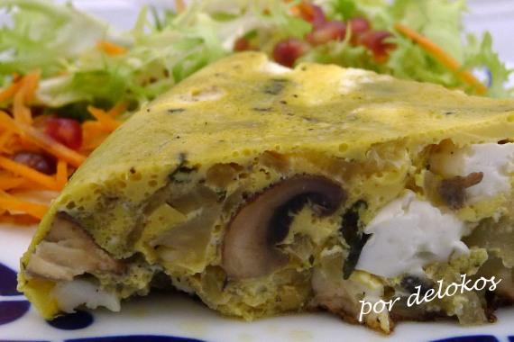 Frittata de hinojo, champiñones y queso fresco, por delokos