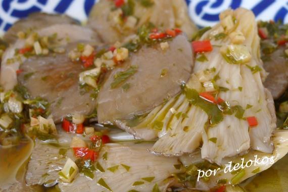 Pleurotus con salsa bilbaína, por delokos