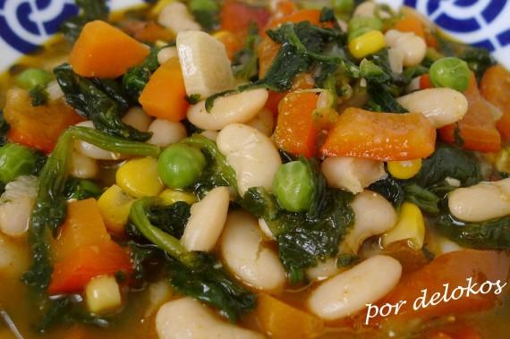 Judías del ganxet estofadas con verduras, por delokos