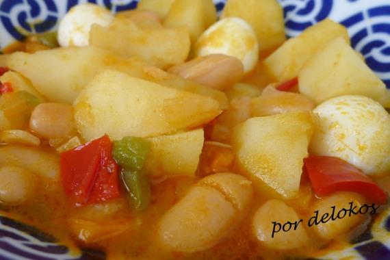 Fabas con patatas y huevos de codorniz, por delokos