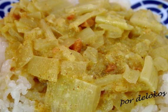 Curry de pencas de acelga, por delokos
