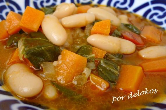 Potaje de fabas, zanahorias y acelgas, por delokos
