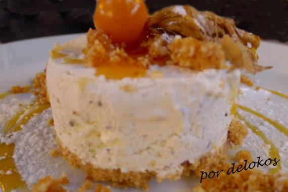 Tarta helada de cardamomo con praliné de nuez de macadamia, , Essência Restaurante Vegetariano, Oporto
