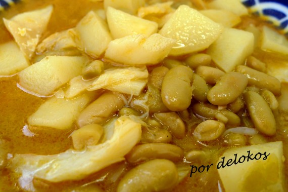 Verdinas con patatas y bacalao, por delokos