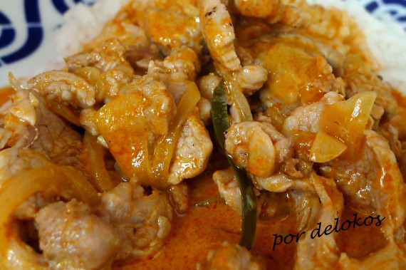 Solomillo de cerdo con curry rojo, por delokos