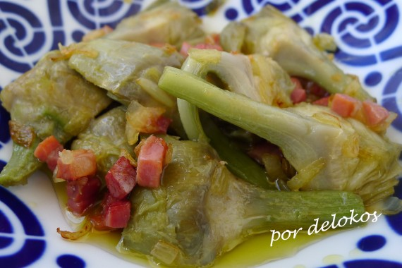Alcachofas con jamón, por delokos