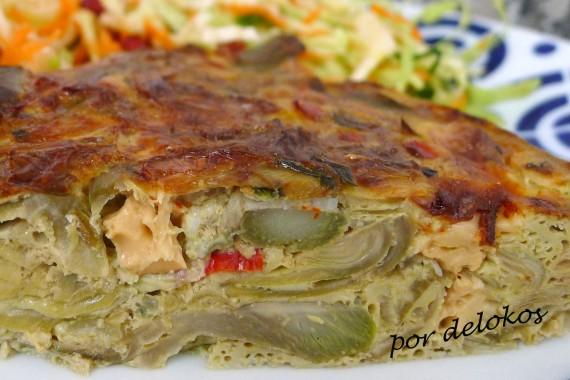 Frittata de alcachofas y queso scarmozza ahumado, por delokos