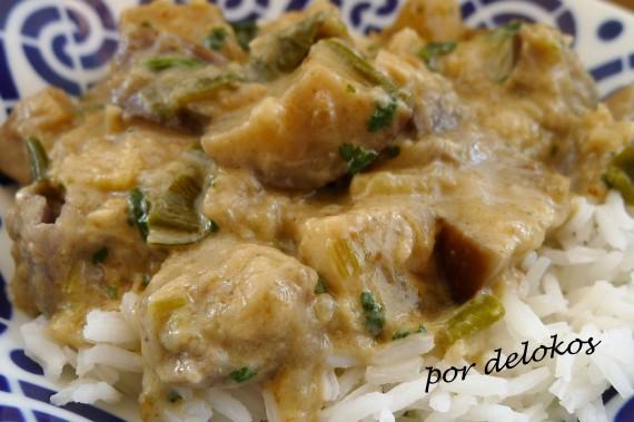 Curry de berenjenas con leche de coco, por delokos