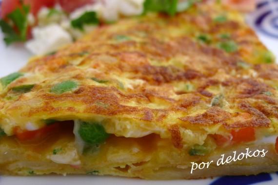 Tortilla paisana vegetariana, por delokos