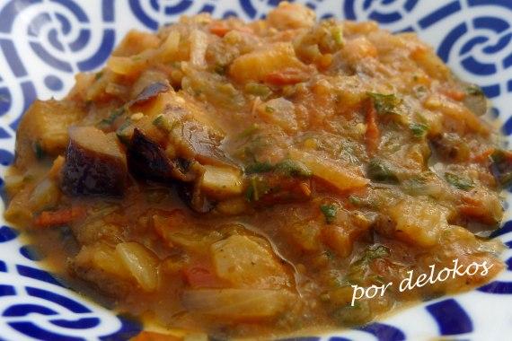 Curry de tomate y berenjenas, por delokos