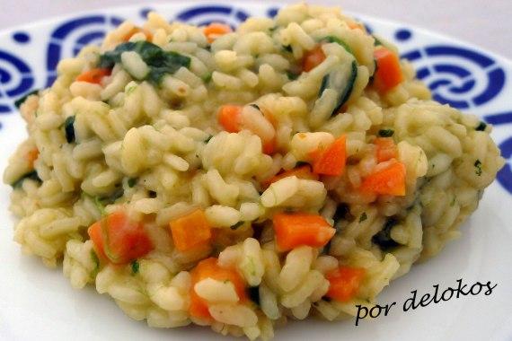 Risotto de zanahoria y espinacas, por delokos